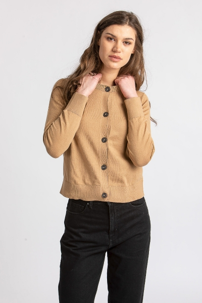Strickjacke caramel 61053 aus Organic Cotton